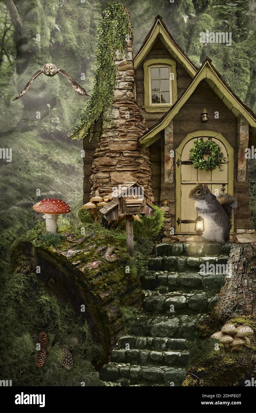 Mushroom Wood and Moss Fairy House with Berry