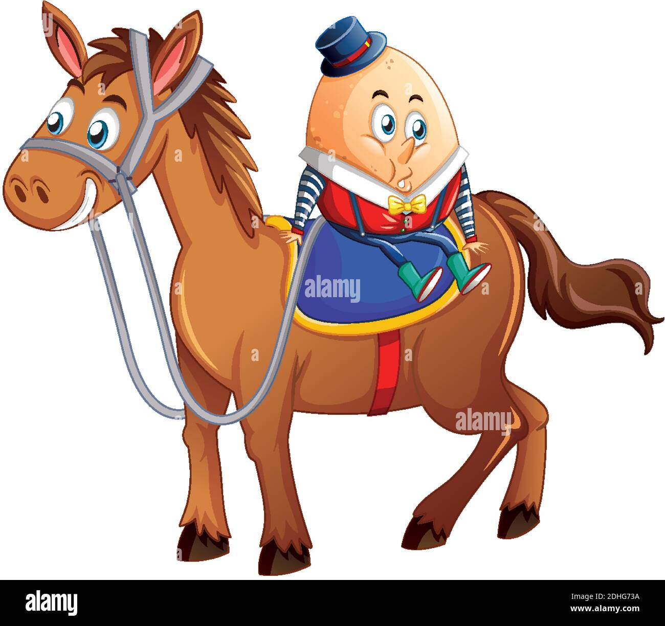 humpty dumpty egg riding a horse on white bakground illustration Stock Vector
