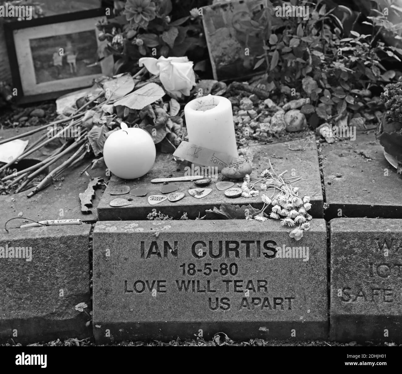 Ian Curtis memorial stone at  Macclesfield Crematorium,Prestbury Road,Cheshire,England,UK,SK10,Factory label,Joy Division vocalist,song writer Stock Photo