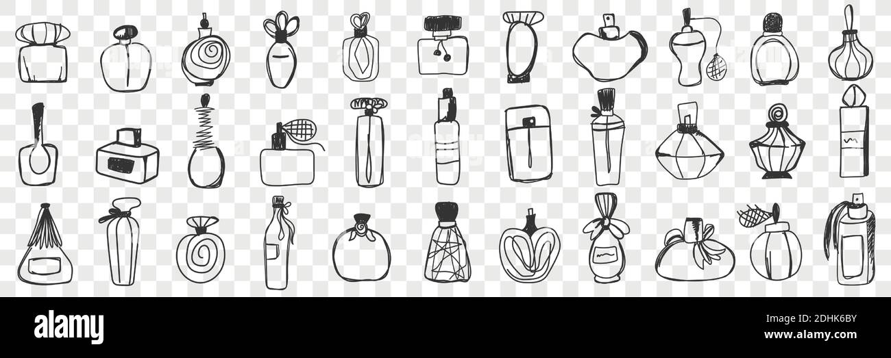 Perfume containers doodle set. Collection of hand drawn vintage stylish bottle and jars for perfume and toilet water isolated on transparent background. Illustration of glass bottles with fragrances  Stock Vector