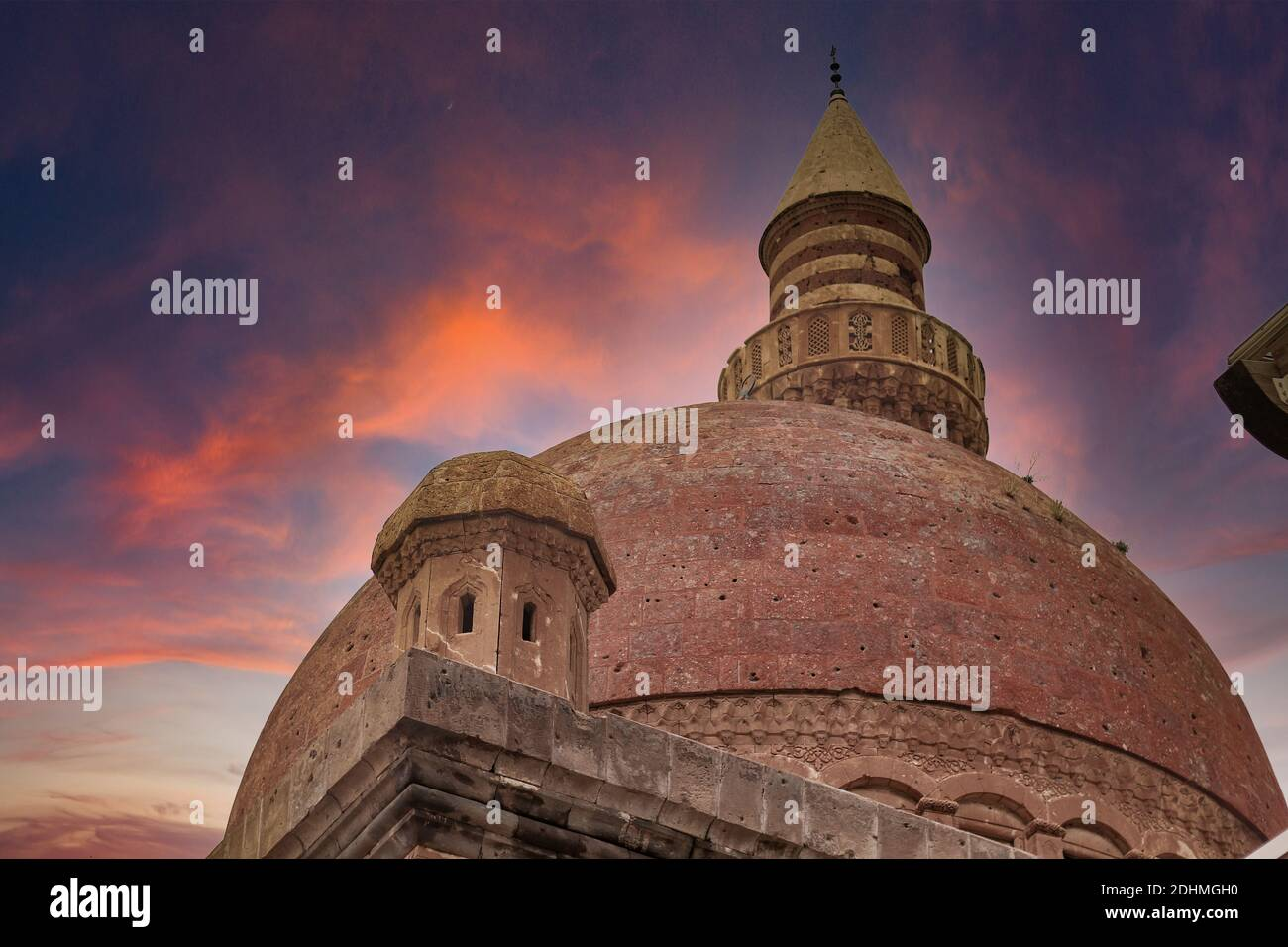 Agri, Turkey - May 2018: The minaret of Ishak Pasha Palace near Dogubayazit in Eastern Turkey. Beautiful brown mosque in the middle east. Different v Stock Photo