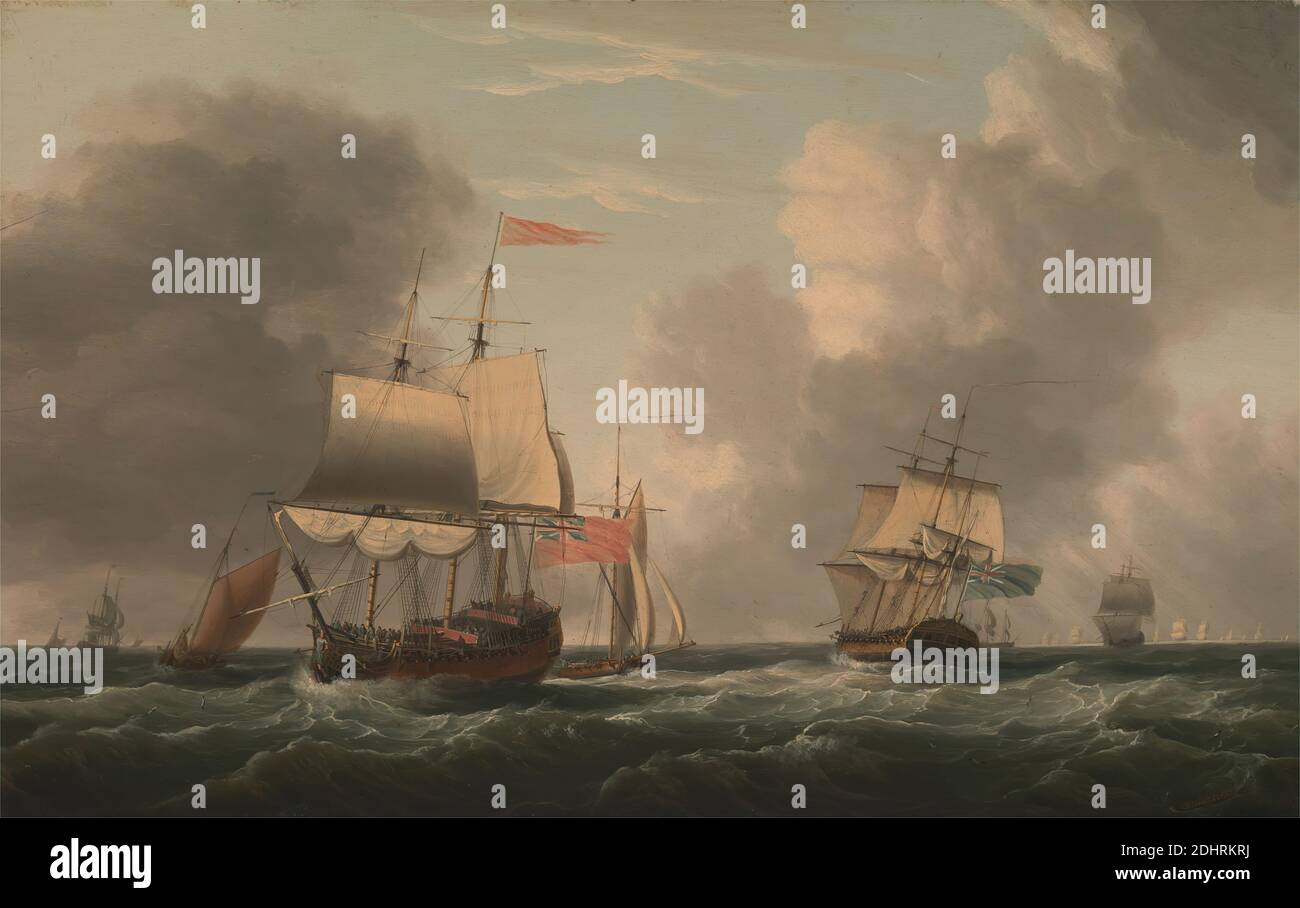 An English Two-Decker Lying Hove to, with Other Ships and Vessels in a Fresh Breeze, Dominic Serres RA, 1722–1793, French, active in Britain (from the 1750s), 1770, Oil on panel, Support (PTG): 16 x 25 inches (40.6 x 63.5 cm), breeze, clouds, cutter (sailing vessel), flags, fleet, full-rigged ships, men, sea, ship of the line, ships, sloops (sailing vessels), water, waves (natural events), waves (natural events), wind Stock Photo