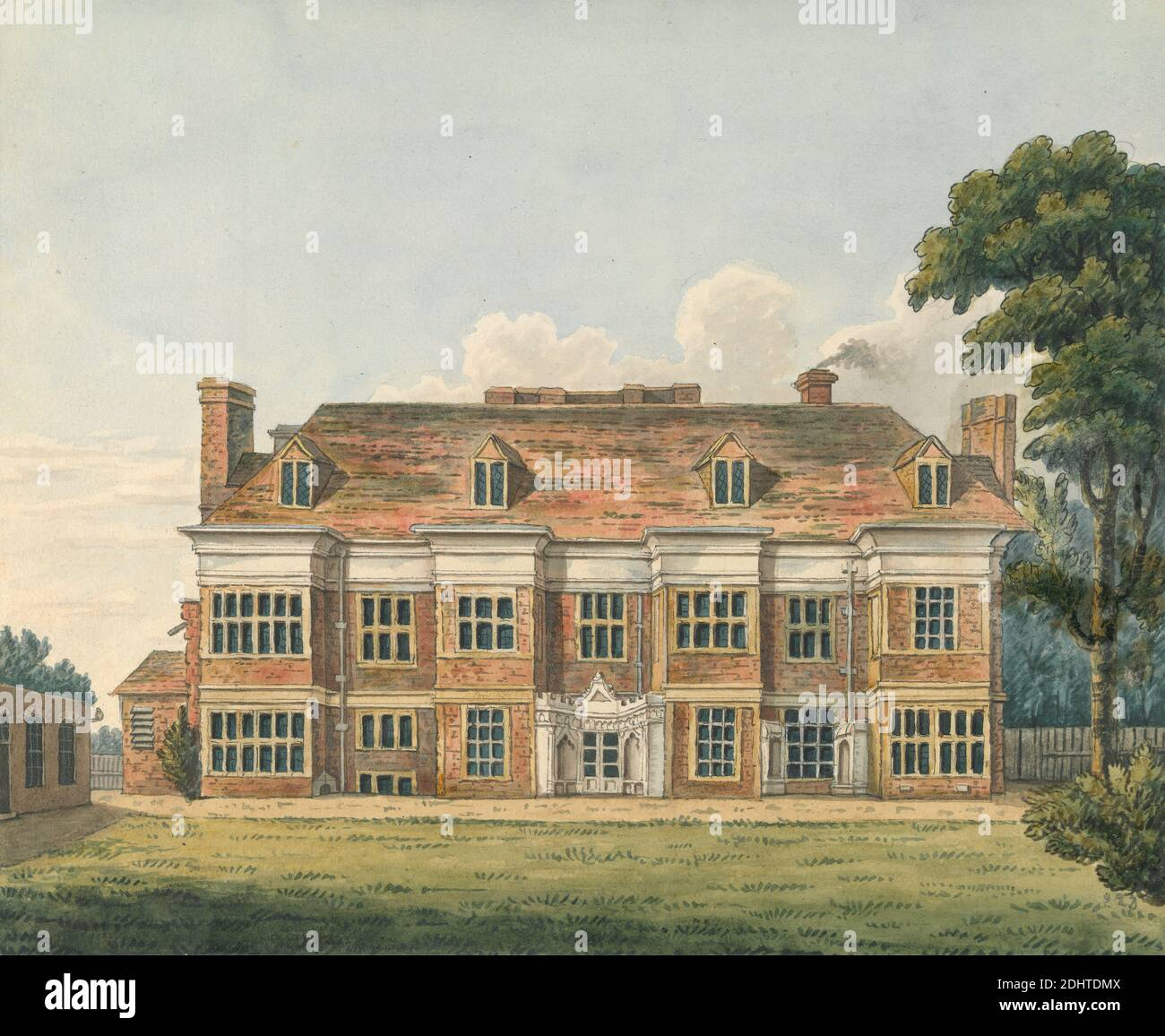 Ealing House, Middlesex, Charles Tomkins, 1757–1823, British, undated, Pen and brown and black ink and watercolor over graphite on medium, smooth, white wove paper, Sheet: 6 7/8 × 8 1/8 inches (17.5 × 20.6 cm), architectural subject, exterior view, house, Ealing, England, Europe, Middlesex, United Kingdom Stock Photo