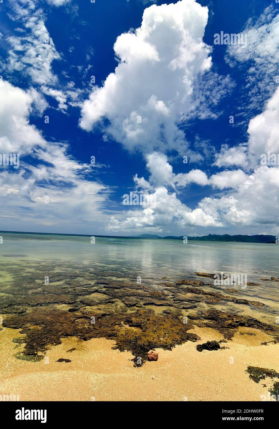 Yonehara Beach, Low Tide,  Empty, Ishigaki, Yahema Islands, Ryukyu Islands, Okinawa, Japan Stock Photo