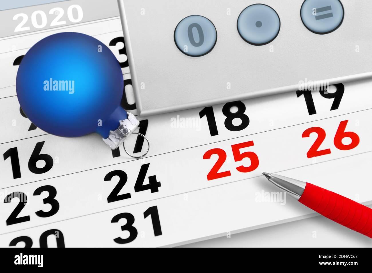Weihnachtszeit Kalender Dezember und Dekoration Stock Photo