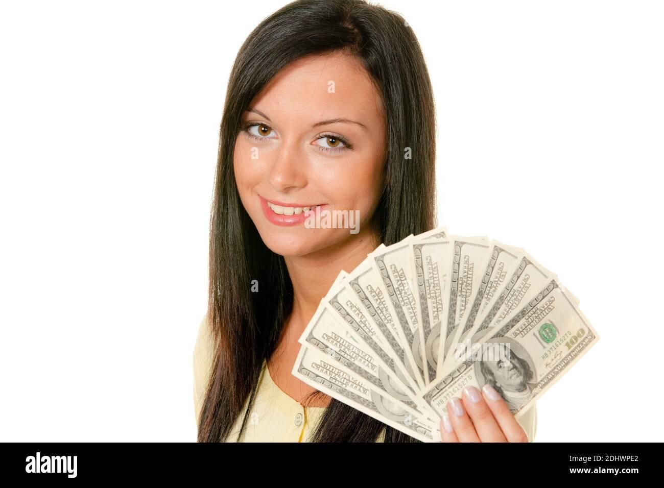 Junge Frau mit einem Bündel US-Dollars in der Hand Stock Photo