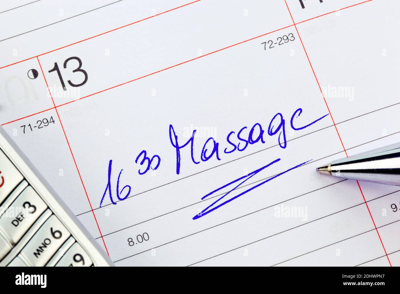 Ein Termin ist in einem Kalender eingetragen:  Massage Stock Photo