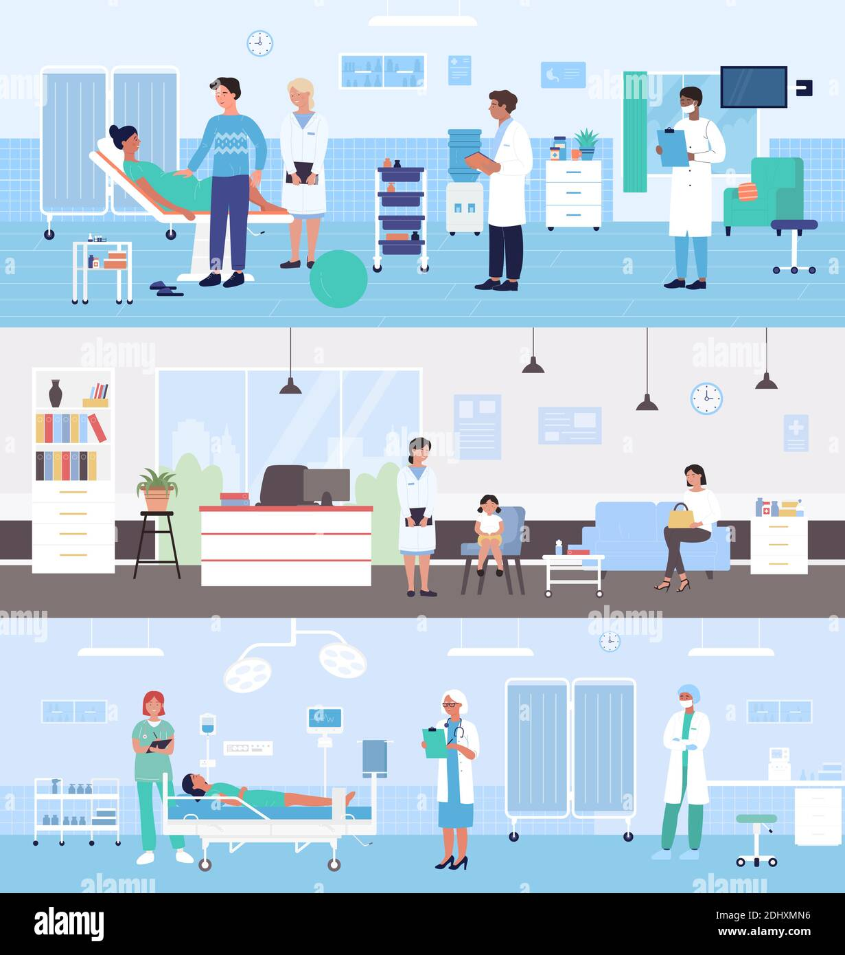 Healthcare medicine hospital service vector illustration set. Cartoon doctor character examining pregnant woman patient in medical ward, family with kid waiting pediatrician examination background Stock Vector