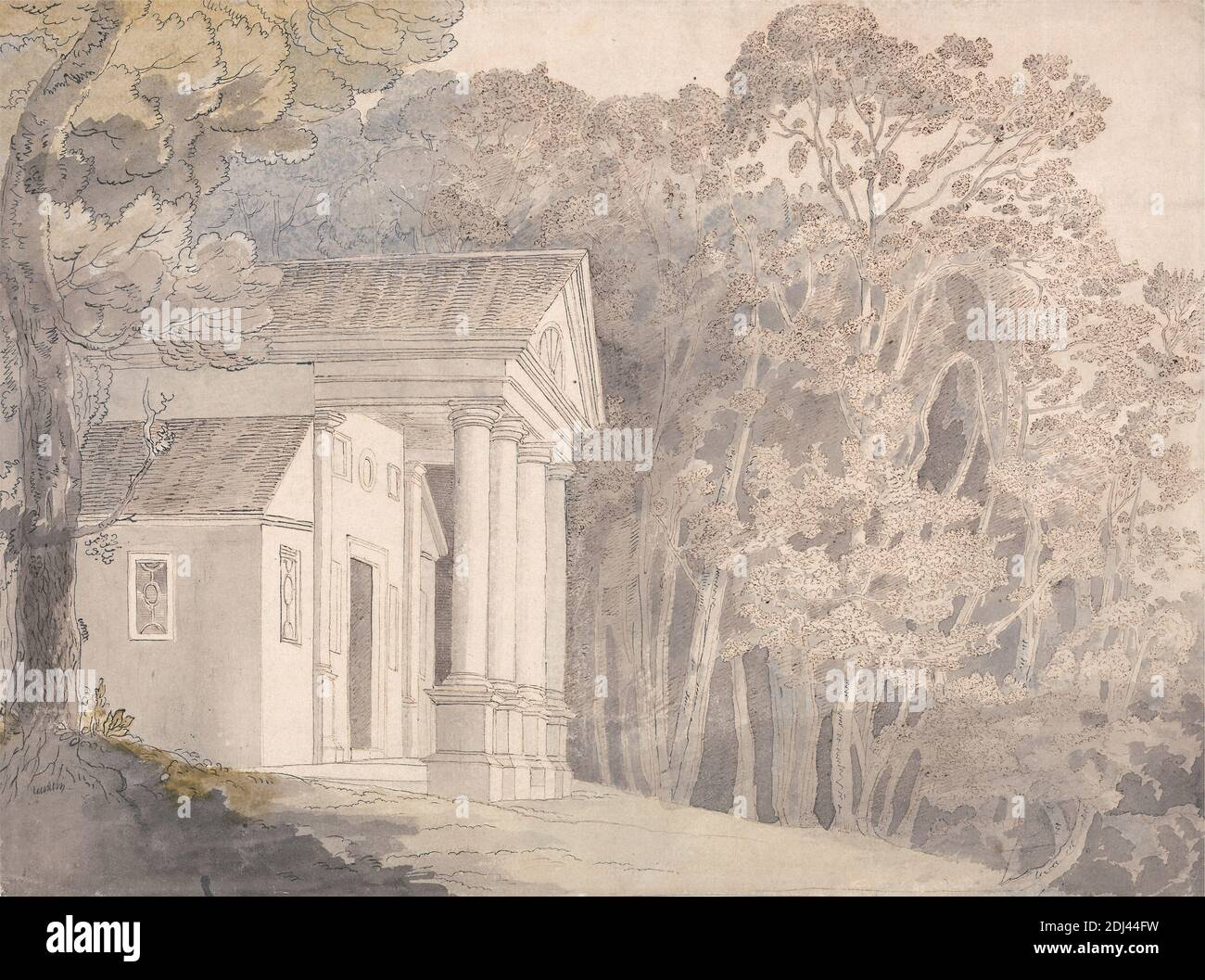 Werrington Park, Devonshire, attributed to Francis Towne, 1740–1816, British, undated, Watercolor and black and brown ink over graphite on medium slightly textured cream laid paper, Sheet: 9 5/8 x 13 inches (24.4 x 33 cm), building, columns, landscape, trees, Devon, Devonshire Stock Photo