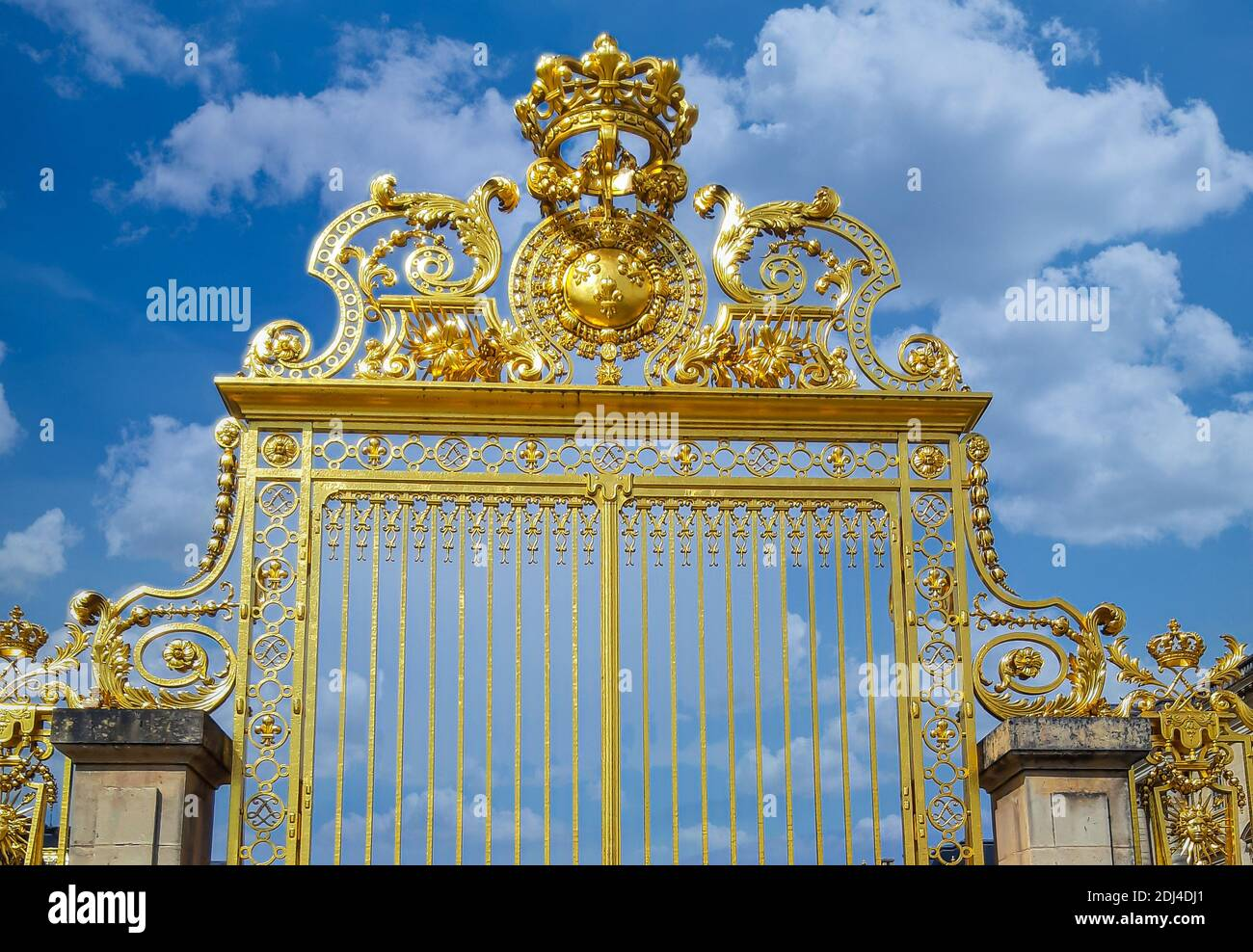 The Palace of Versailles or simply Versailles, is a royal château in Versailles in the Île-de-France Stock Photo