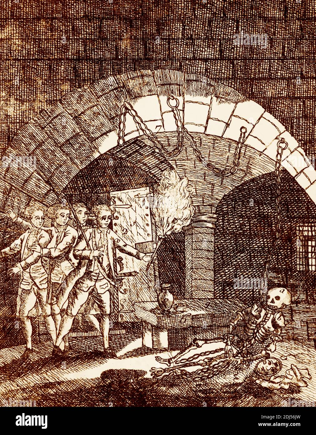 Skeleton of the man in the iron mask found in Bastille prison Stock Photo