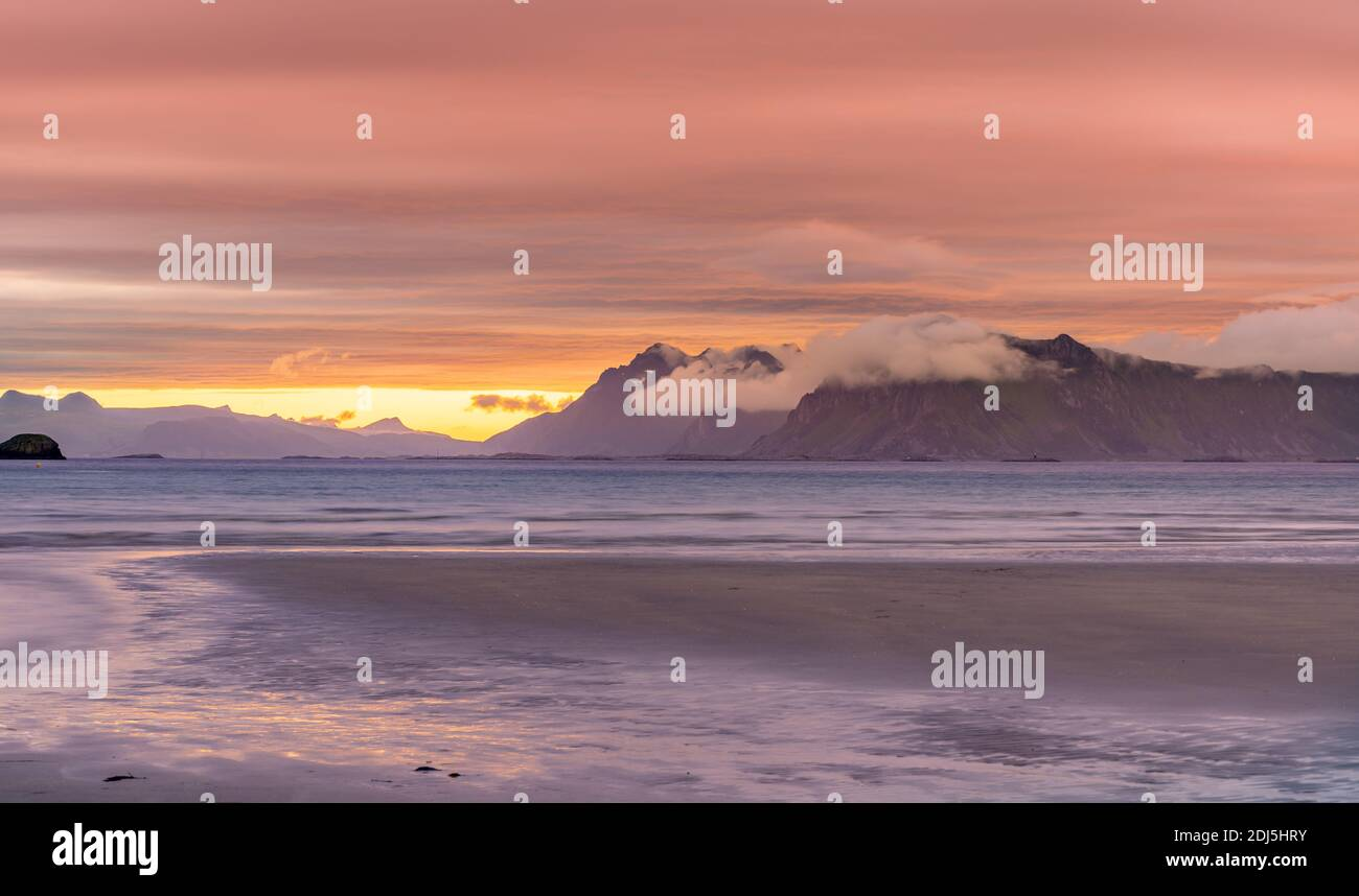 Norway sunset . sunset View from the Lofoten Islands - Norway Stock Photo