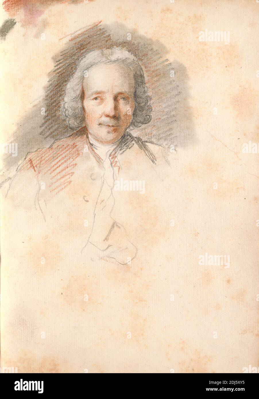 Head of an Elderly Man, Thomas Patch, 1725–1782, British, 1760s, Black chalk, red chalk and gray wash on medium, slightly textured, cream laid paper bound in carta fiorentina, Sheet: 8 3/4 x 6 1/2 inches (22.2 x 16.5 cm) and Spine: 8 7/8 inches (22.5 cm), Grand Tour, portrait Stock Photo