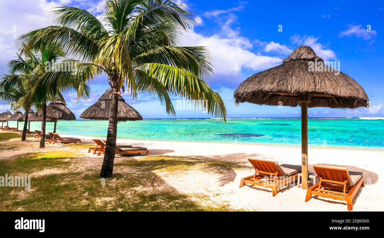 Tropical relaxing holidays in one of the best beaches of Mauritius island Stock Photo
