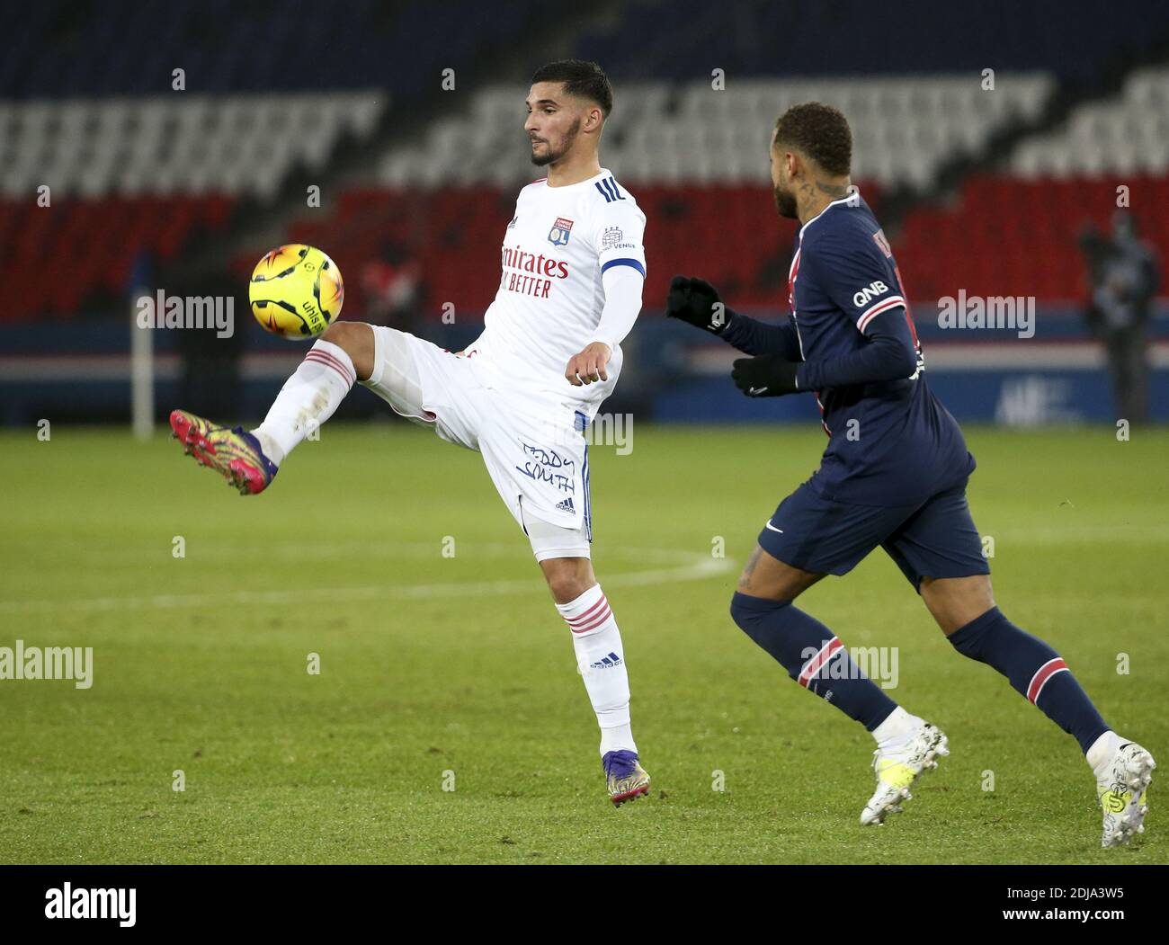 Houssem Aouar of Lyon during the French championship Ligue 1 football match between Paris Saint-Germain (PSG) and Olympique Lyon / LM Stock Photo
