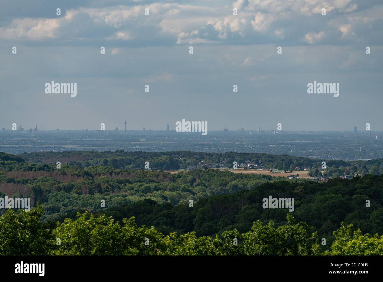 View from the top of the rock wall of the Stenzelberg far to Cologne. Stock Photo