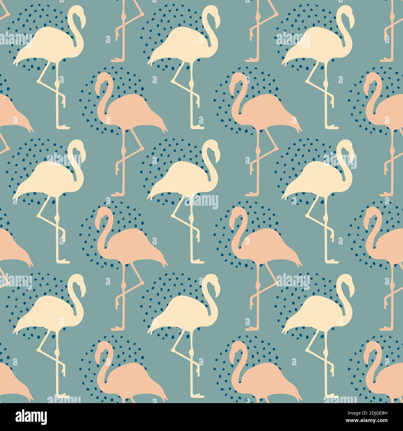 Vector seamless pattern with pink flamingos and dots. Exotic Hawaii art background. Design for fabric, textile, wrapping paper and other decoration. Stock Vector