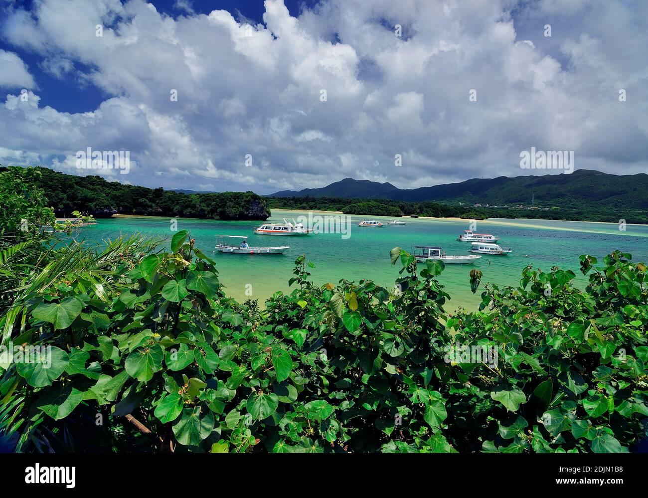 Kabira Bay, Beach,  Rarelly Empty,From Observatory,  Ishigaki, Yahema Islands, Okinawa, Ryukyu Islands, Japan Stock Photo