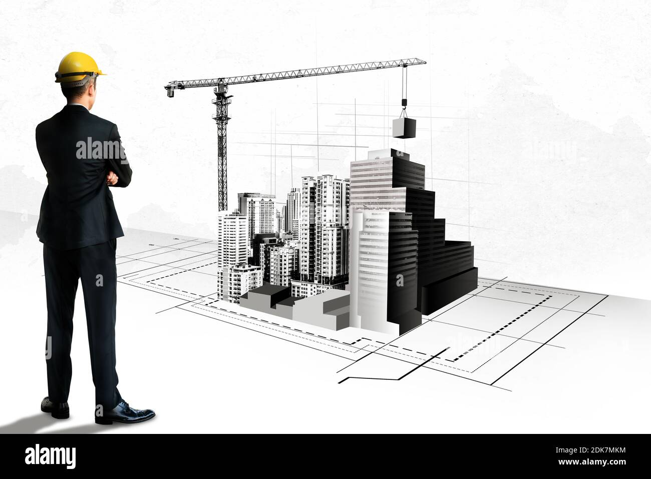 City civil planning and real estate development - Architect people looking at abstract city sketch drawing to design creative future city building Stock Photo