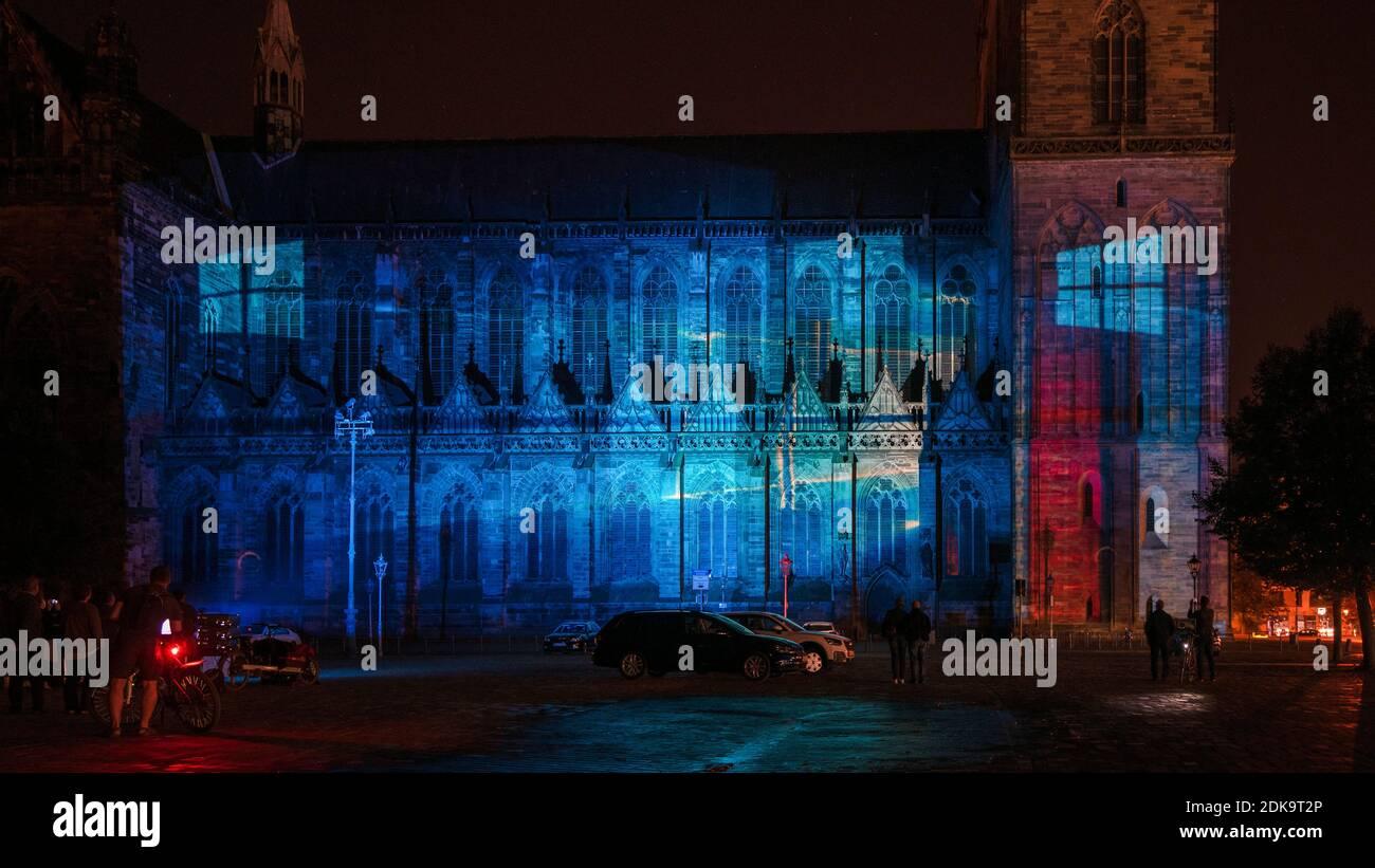 Germany, Saxony-Anhalt, Magdeburg, illuminated Magdeburg Cathedral, anniversary 500 years of completion of the cathedral, light show Magdeburg in light Stock Photo
