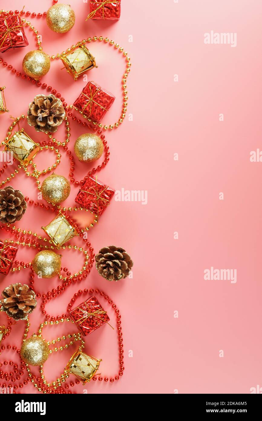 Christmas Or New Year Pink Background With Red And Gold Decorations For Christmas Tree With Free Space The View From The Top New Year Mood Stock Photo Alamy