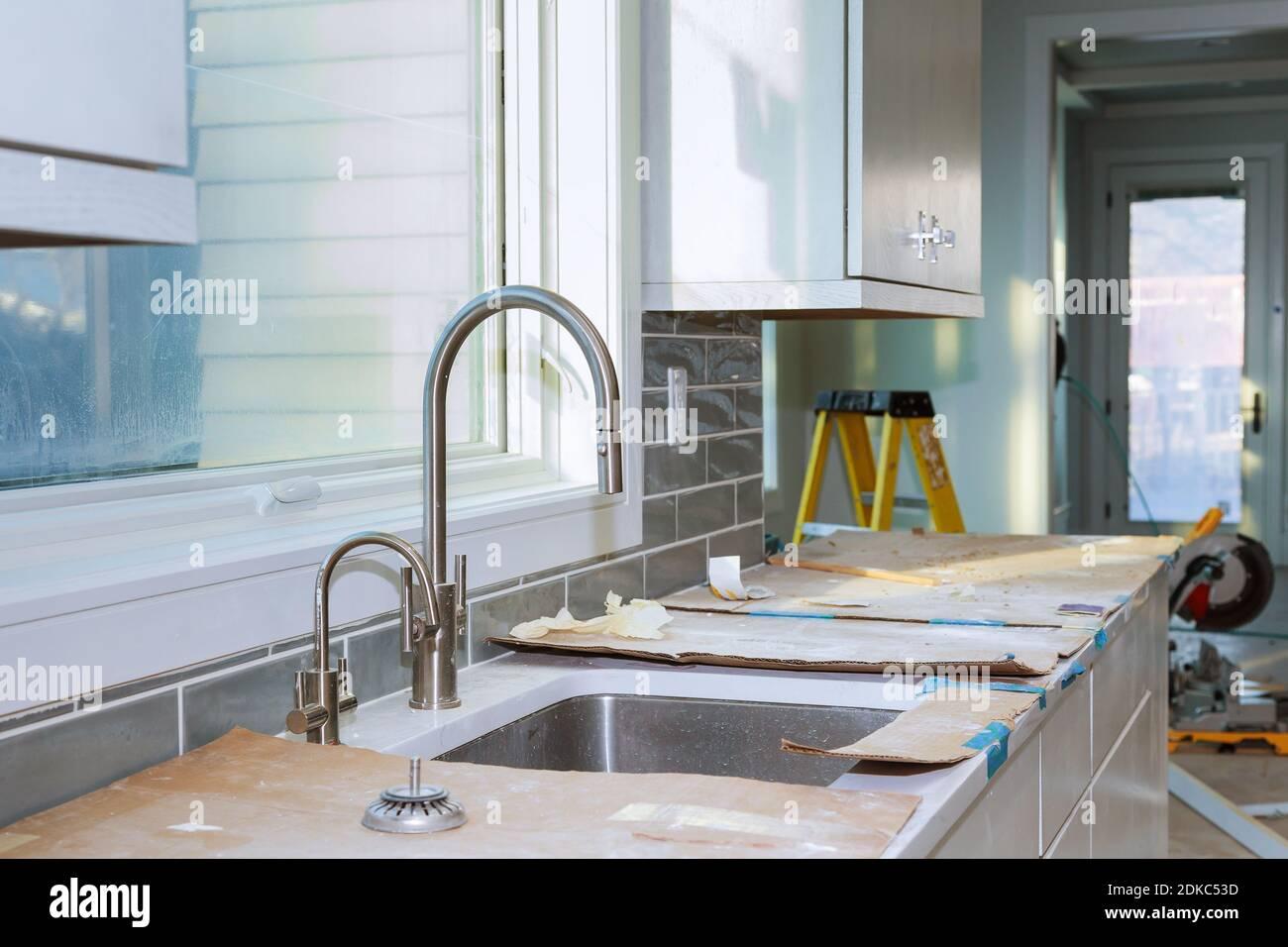 Kitchen Cabinets Installation Improvement Kitchen Remodel Worm S View Installed In A New Kitchen Stock Photo Alamy