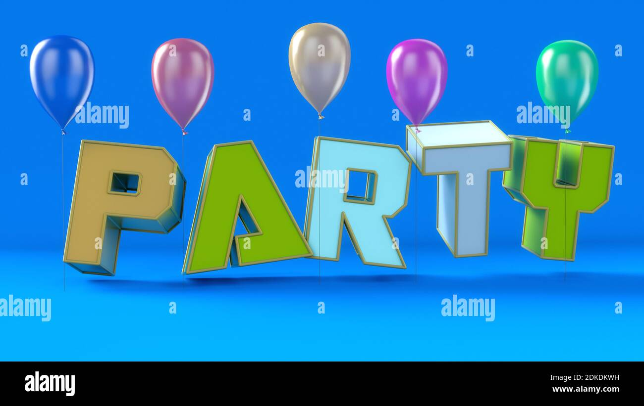 3d render. Party  and balloons background Stock Photo
