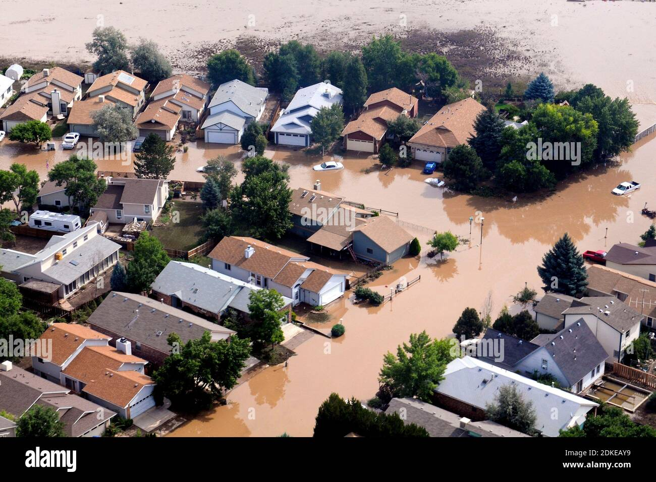 BOULDER, COLORADO, USA. 14 September 2013 - Aerial view of flooded homes in Colorado USA. Some areas received as much as 18 inches in a 24-hour period Stock Photo