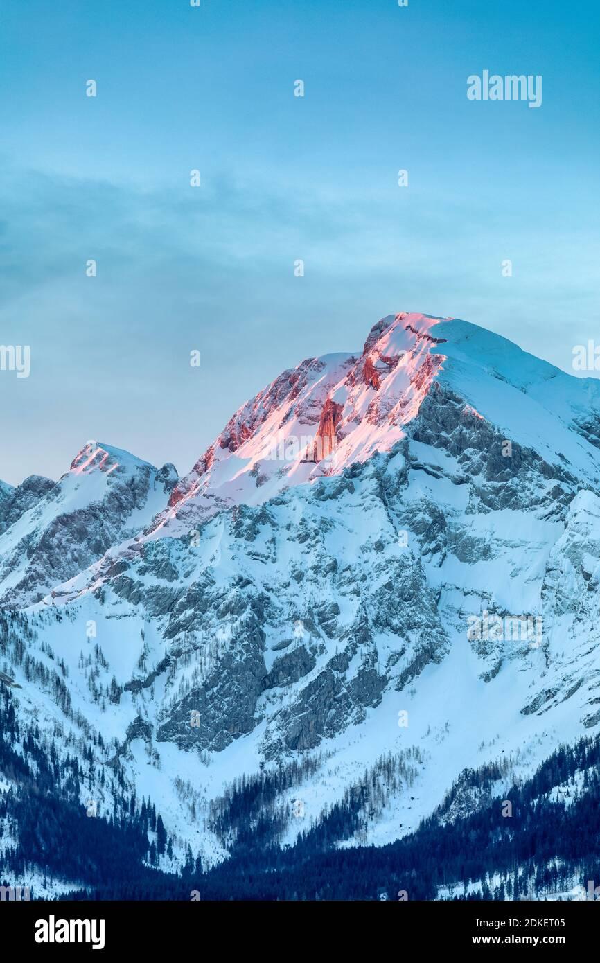 Sunrise on the Hoher Goell / Hoher Göll mountain, Berchtesgaden Alps, on the border of Bavaria and Salzburg, Austria / Germany, Europe Stock Photo