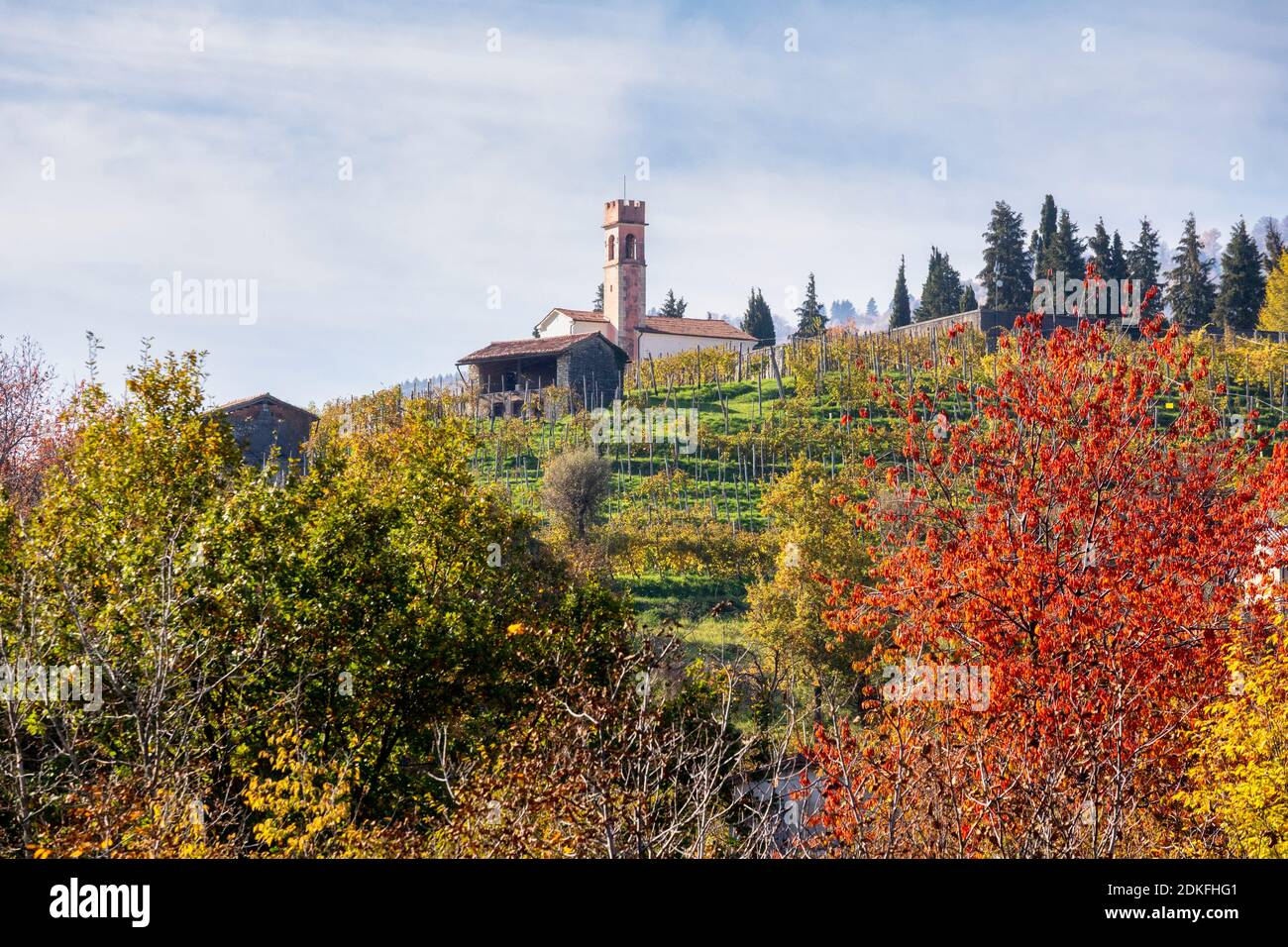 the oratory of the blessed virgin of sorrow on the hill of Combai, among the vineyards in autumn, Miane, Treviso, Italy, Europe Stock Photo