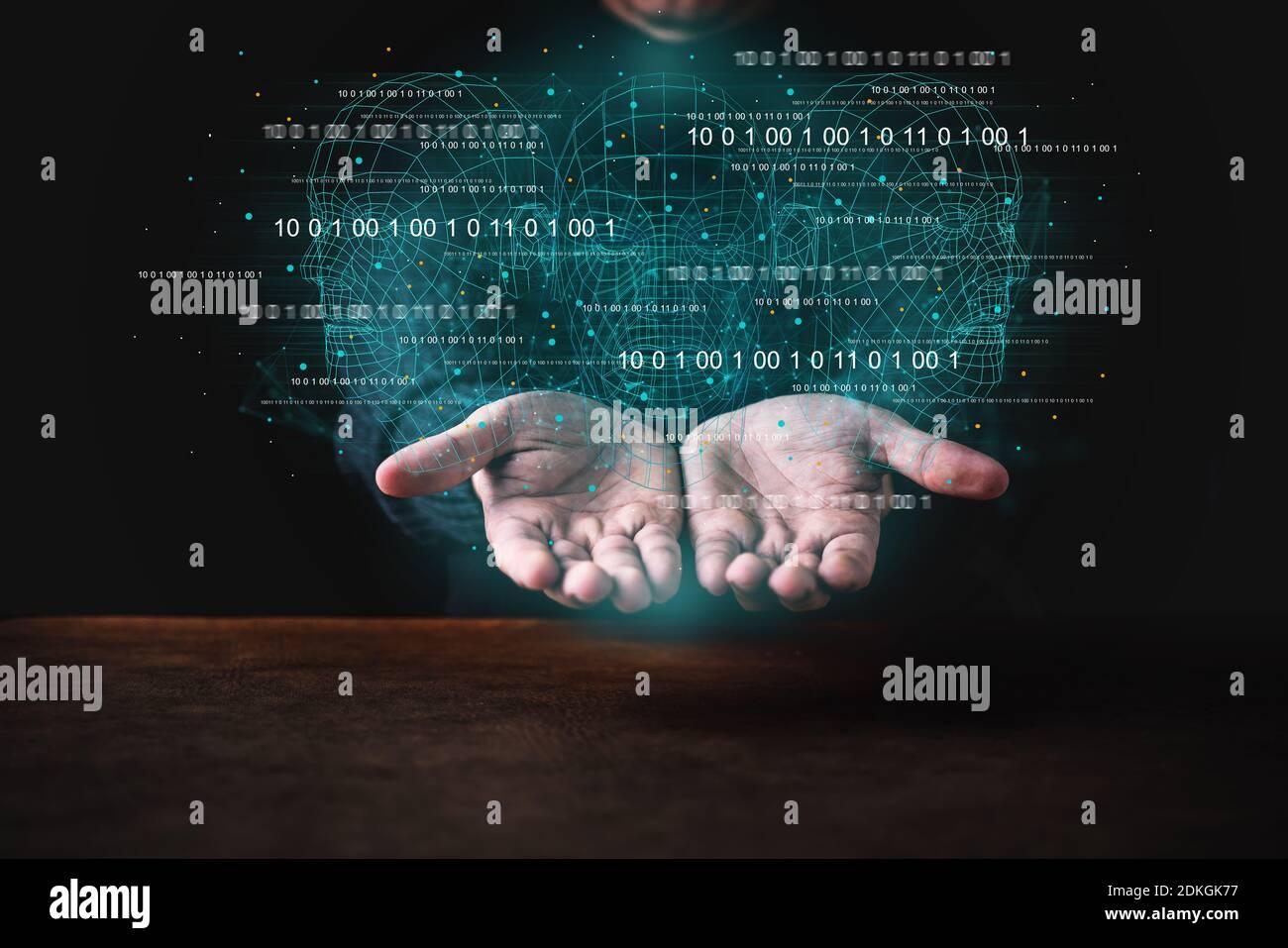ai big data ideas concept business man hand show technology hologram  in hand dark blackground Stock Photo