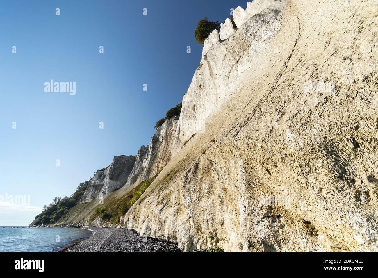 "Chalk cliffs ""Møns Klint"", Denmark, Baltic Sea, steep coast with bizarre chalk formations Stock Photo"