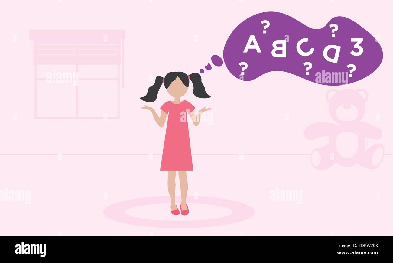 dyslexia concept - child with reading disorder Stock Vector