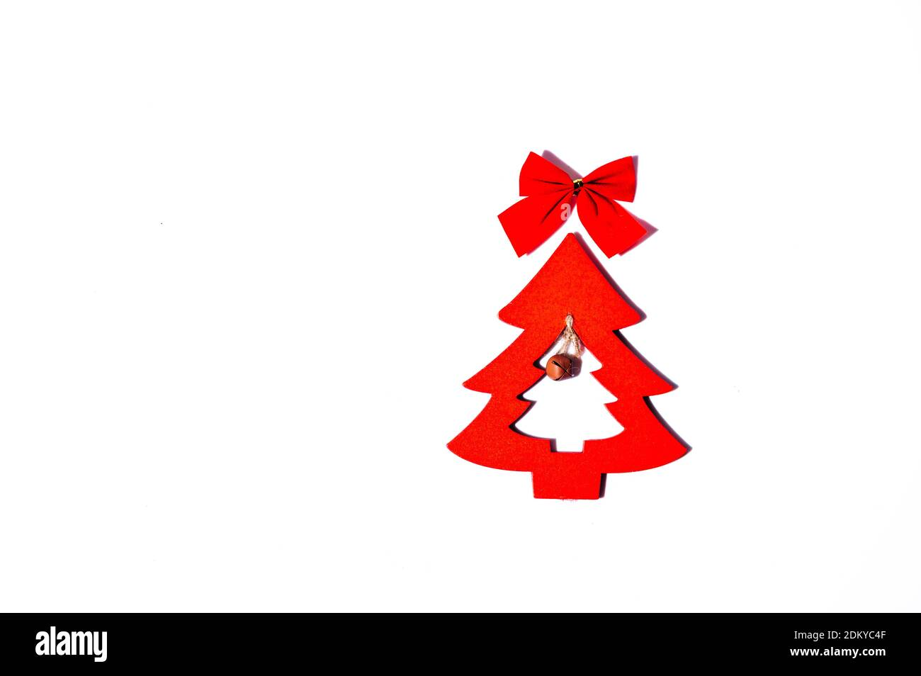 Red Wooden Christmas Tree Isolated On A White Background Minimalist Christmas Background Top View Copy Space Christmas Card Design Stock Photo Alamy