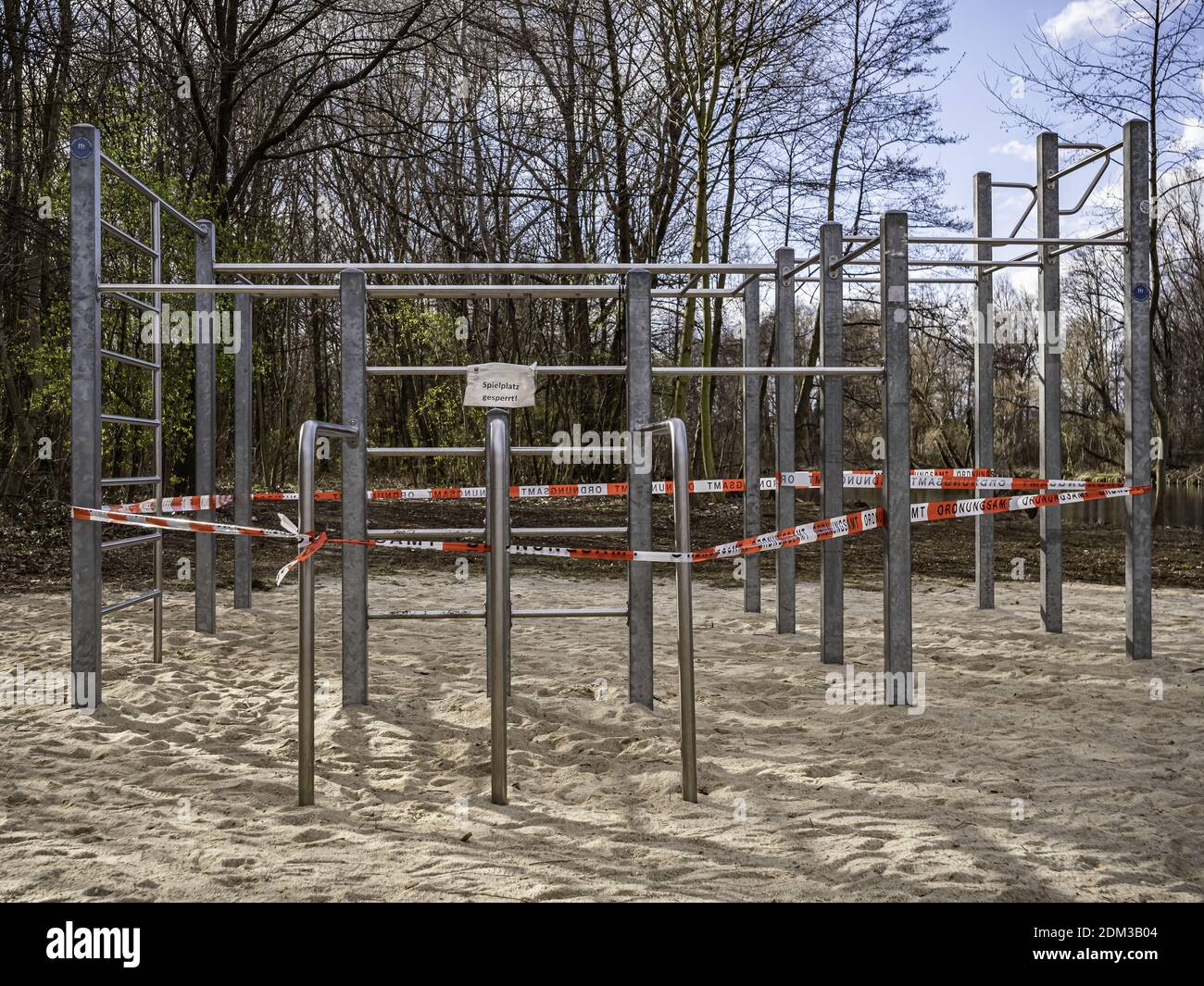 Closed climbing frame in the Corona period Stock Photo
