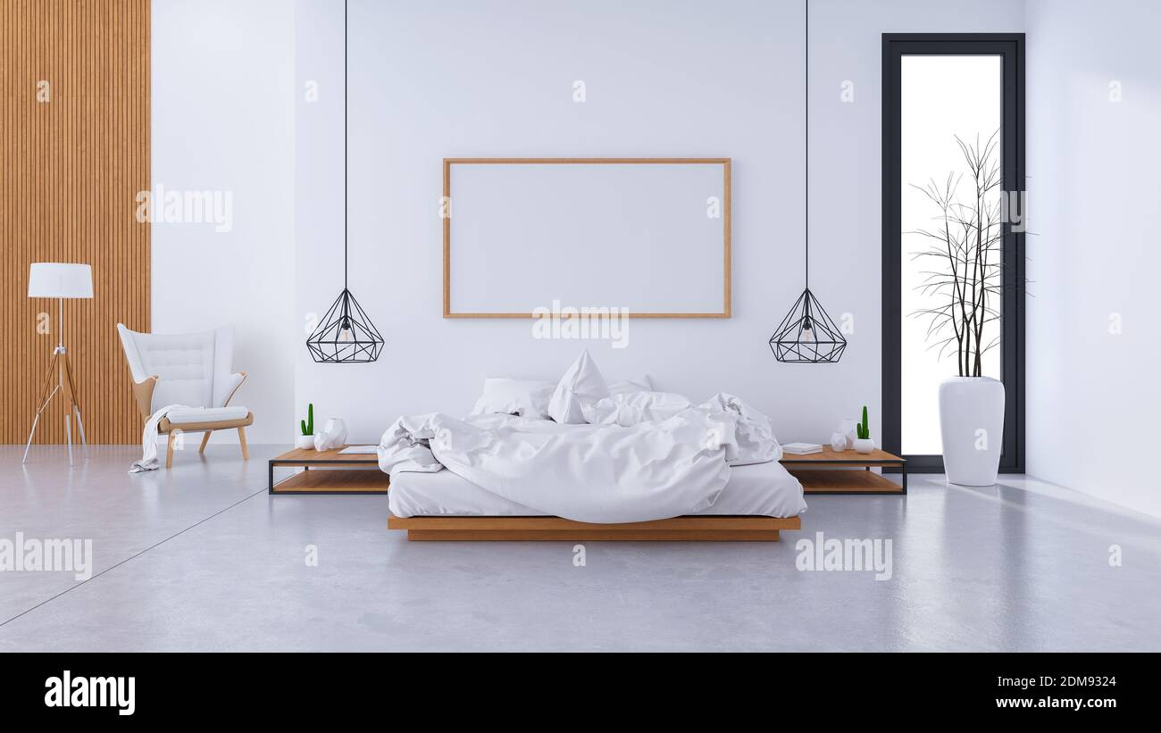 Modern Loft Interior Of Bedroom Design And Cozy Style White Bed With Wooden Bedside On Concrete Floor And Frame Mock Up 3d Render Stock Photo Alamy