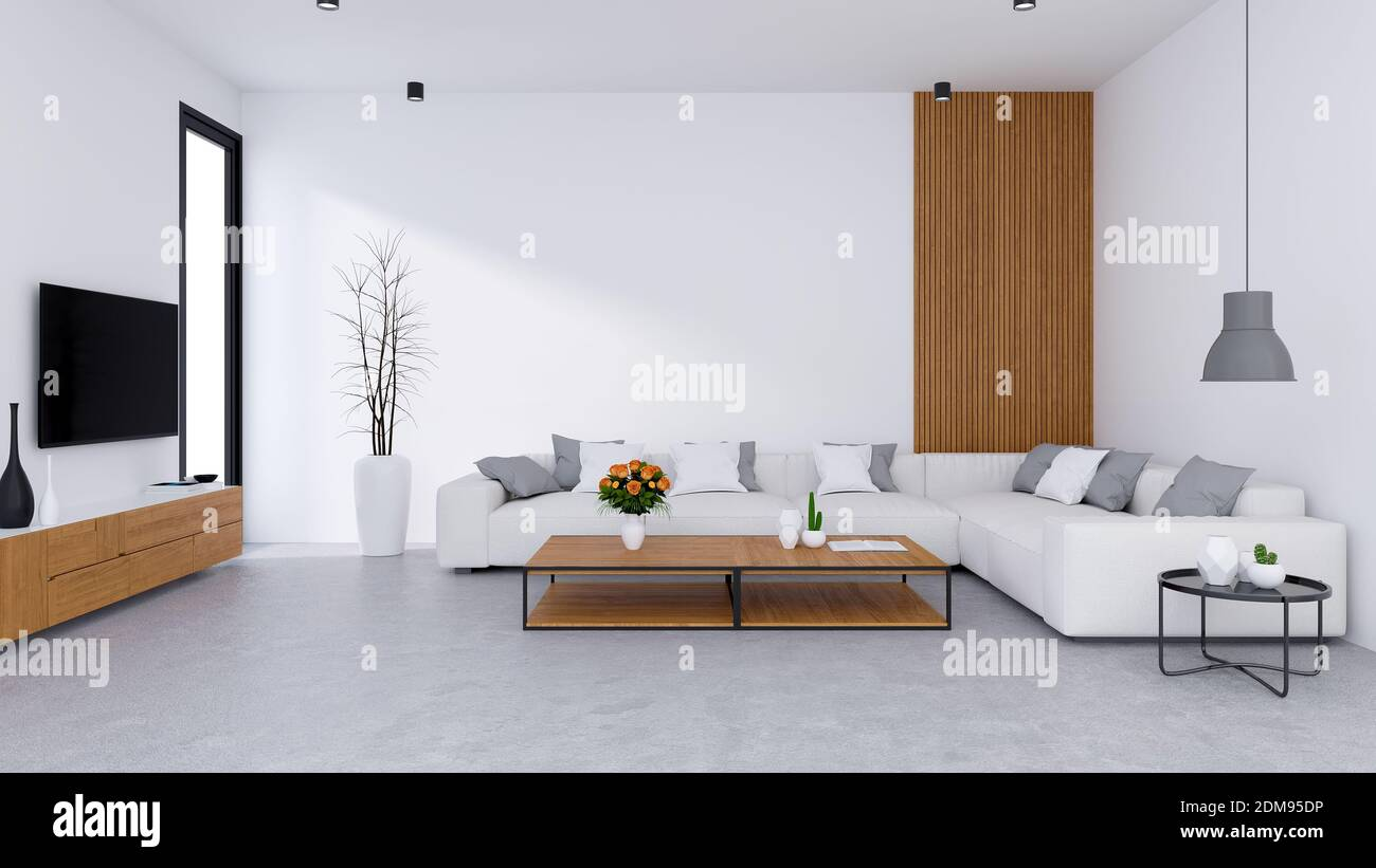 Modern Living Room Design And Cozy Living Style White Sofa With Wooden Tv Cabinet On Concrete Floor 3d Render Stock Photo Alamy