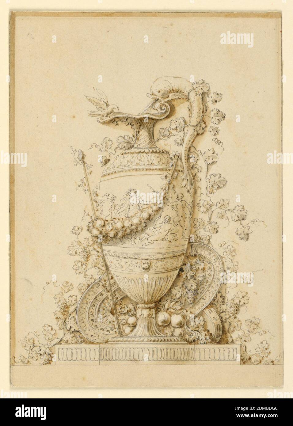 Design for a panel decoration showing a ewer, for a plate in the 'Recueil d' Ornements', Gilles Paul Cauvet, French, 1731–1788, Black chalk, pen and ink, brush and wash, A thyrsus is fastened to a pitcher by a festoon. The pitcher shows bacchic scenes; water pours from the dolphin forming the handle. A grape vine grows around it. Plates and fruit on the base., France, ca. 1775, Drawing Stock Photo