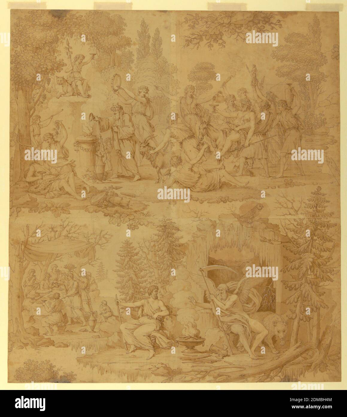 Cartoon for Cotton Printing: 'Les Quatre Saisons', B. M. Lebert, 1759–1836, J. L. Lebert, French, early 19th century, Hartmann et Fils, (Munster, France), Pen and brown ink, brush and grey wash, on cream paper, pieced; squared in graphite for transfer, Bacchus, seated on a donkey and attended by wood-nymphs, approaches an altar at which Silenus is making a sacrifice and about which a drunken revel is taking place (symbolizing Autumn); In the lower right, Chronos warms himself at a fire before the entrance to an ice-covered cave, and is accompanied by another figure Stock Photo