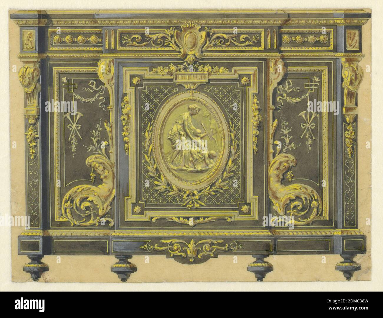 Design of a Cabinet in the Louis XVI Style, Pen and brown ink, brush and wash, gold paint, gouache on tracing paper, This drawing depicts a cabinet in the Louis XVI style ornately decorated with gilt-bronze mounts. The center panel consists of an oval medallion featuring a relief of the young Bacchus holding a thyrsus; he is supported by a standing Maenad (Bacchante) while he rides astride the back of a young satyr. Garlands, laurel leaves, herms, brackets and cartouches symmetrically decorate the cabinet., France, ca. 1860, furniture, Drawing Stock Photo
