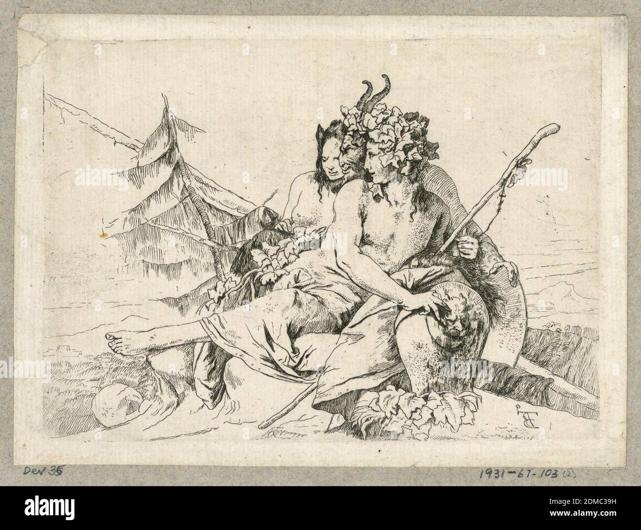 Copy of Bacchante, Satyr, and Female Faun, from the series Scherzi di Fantasia, Giovanni Battista Tiepolo, Italian, 1692 - 1770, Etching on laid paper, In the center, a compact group of a bacchante, a satyr and a female faun. They face left. The bacchante holds a thyrsus in her left hand and her right hand rests on a vase. In the background, trees., Italy, 1750–1760, figures, Print Stock Photo
