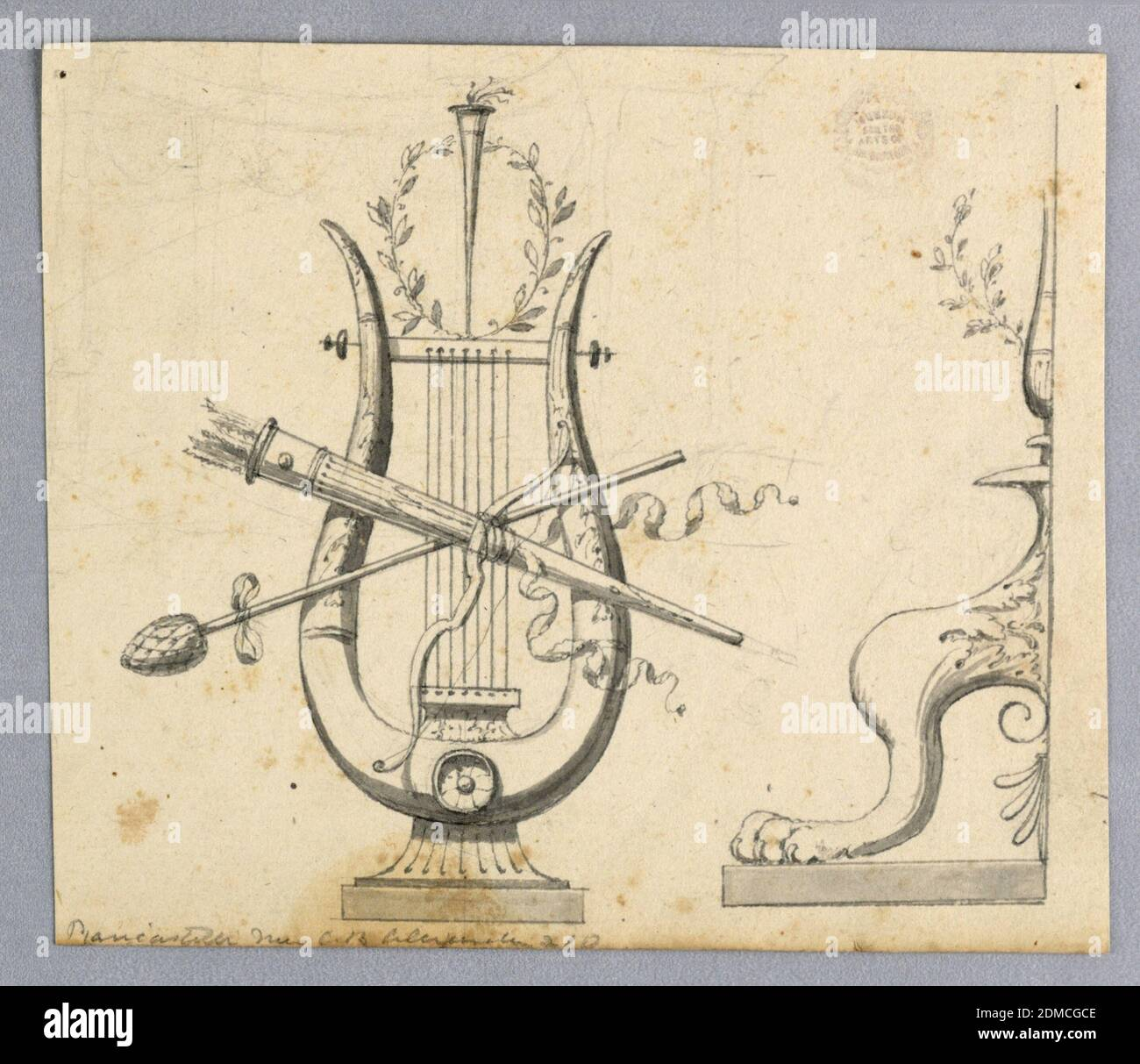 Design for Decorative Motifs, Graphite, pen and ink, brush and wash on paper, At left, a lyre with a bow, a thyrsus, a quiver in front of it, with a torch and a wreath on top of it. At right is the left half of the foot of a candelabrum., Italy, 1820–1830, ornament, Drawing Stock Photo