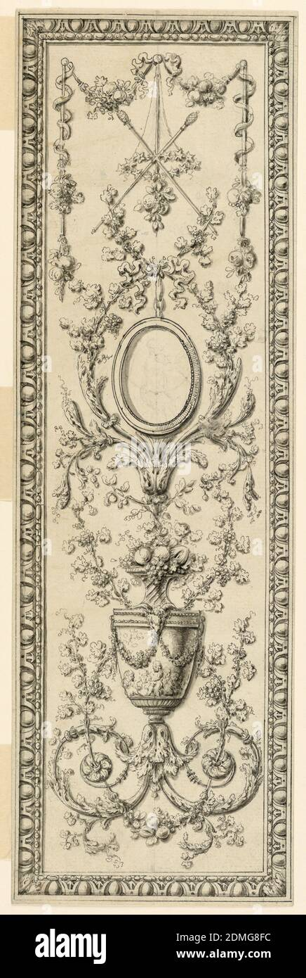 Project for the decoration of a vertical panel, Gilles Paul Cauvet, French, 1731–1788, Graphite, Pen and black ink on paper with brush and wash, A candelabrum used as a vase, a medallion and a thyrsus surrounded by floral motifs and framed by mouldings., France, ca. 1775, Drawing Stock Photo