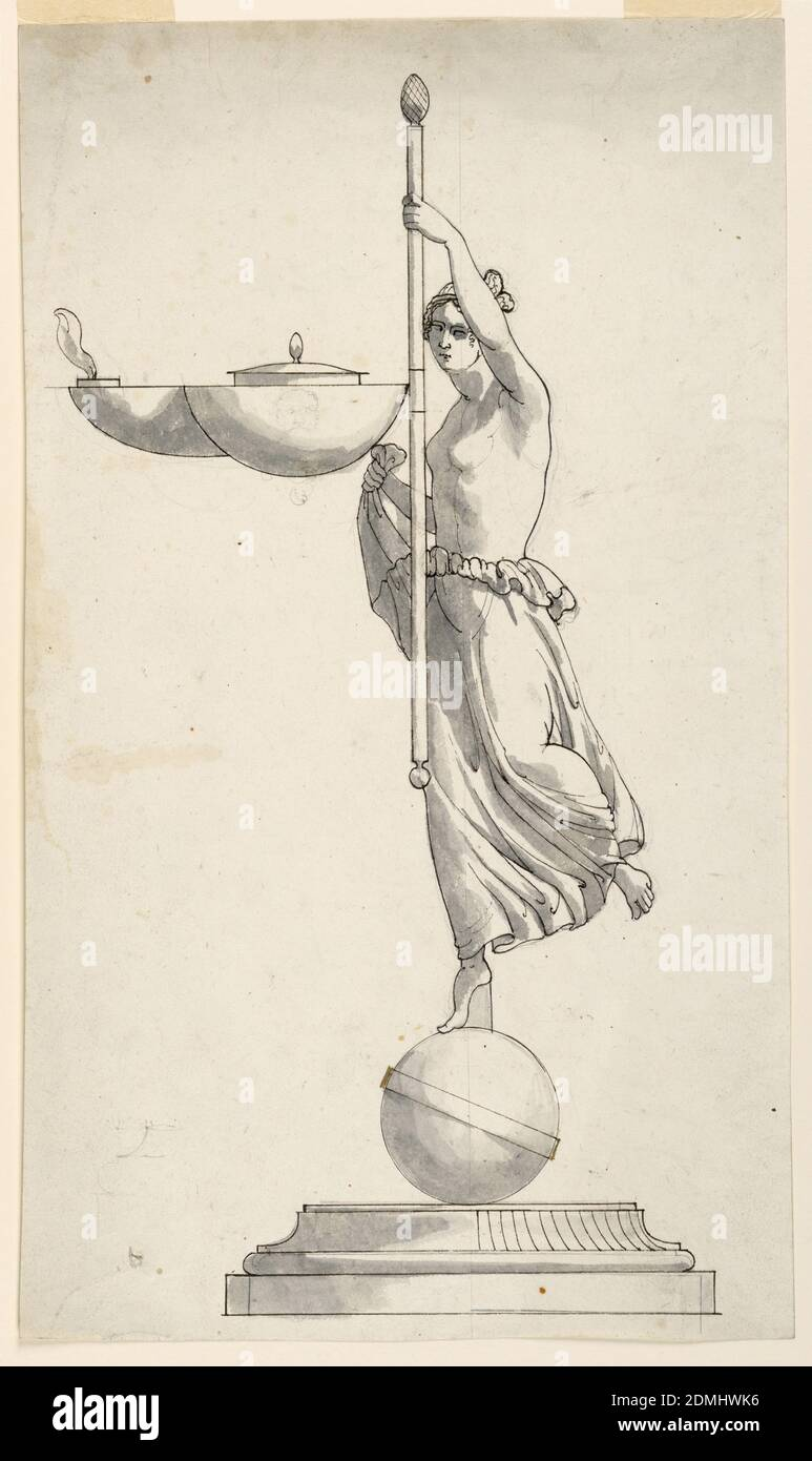 Desing for an Oil Lamp, Pen and ink, brush and gray watercolor, graphite on paper, Vertical rectangle. Design for an oil-burning lamp. Below is a moulded base. The figure of a menad is shown in three-quarter profile dancing upon a sphere and turned toward left. Her right hand holds her skirt, her left hand the thyrsus to which the lamp is fastened., Rome, Italy, mid- 19th century, lighting, Drawing Stock Photo