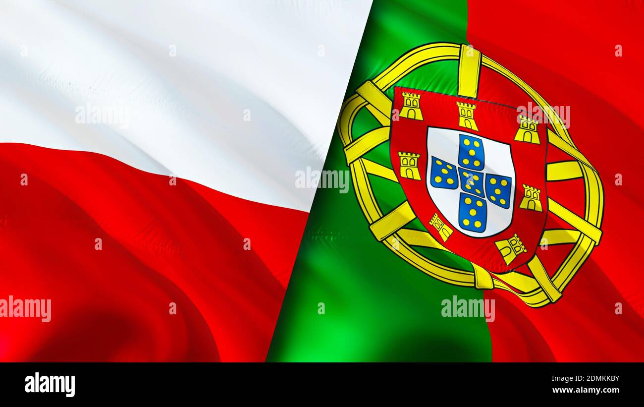 Poland And Portugal Flags 3d Waving Flag Design Poland Portugal Flag Picture Wallpaper Poland Vs Portugal Image 3d Rendering Poland Portugal Rel Stock Photo Alamy