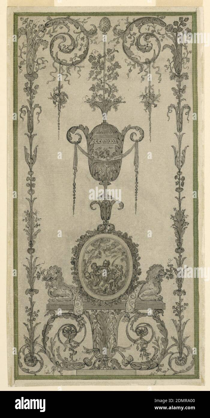 Arabesque Design for a Panel, Pen and ink, brush and wash, pencil on paper, Candelabrum with two lateral framing growths. The central stem consists of a calyx section, a base with crouching lions flanking an ovoidal medallion, an urn, a thyrsus. Framing strip., France, 1780–90, ornament, Drawing Stock Photo