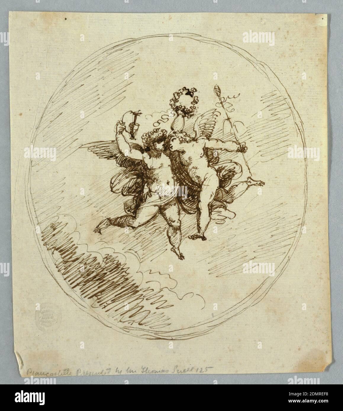 Two Flying Putti with Attributes of Dionysus, Felice Giani, Italian, 1758–1823, Felice Giani, Italian, 1758–1823, Pen and ink on paper, Vertical rectangle showing two loosely drawn putti in an oval frame. The left putto raises a pitcher and wreath, the right has a thyrsus., Italy, 1800–1820, figures, Drawing Stock Photo