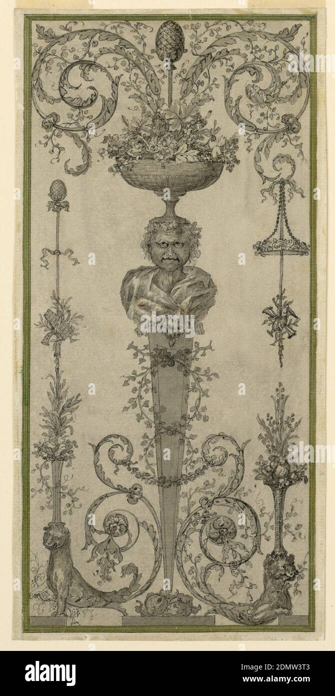 Arabesque Design for a Panel, Pen and ink, brush and wash on paper, Gaine with the bust of Dionysus supporting a bowl full of bunches of grapes and leaves from which a faun with a thyrsus and two acanthus scrolls rise. A disk with roses and a trophy are suspended from the scroll at right. A flower basket standing upon the head of the half-figure of a lion, below. The left half shows the half-figure of a lion supporting a flower basket over which a thyrsus rises and to which a trophy of pastoral musical instruments is fastened. Framing strip., France, ca. 1775, ornament, Drawing Stock Photo