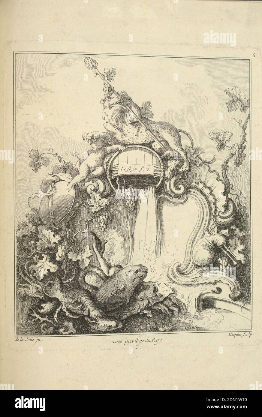 Design for a Cartouche Surmounted by a Tiger, Jacques de Lajoüe, French, 1687–1761, Gabriel Huquier, French, 1695–1772, Engraving on white laid paper, A tiger holding a thyrsus atop a barrel that is probably pouring wine, his paw resting on the head of a putto. Clusters of grapes and leaves decorate the cartouche. Enormous fish are at bottom foreground., France, 1740, ornament, Print Stock Photo