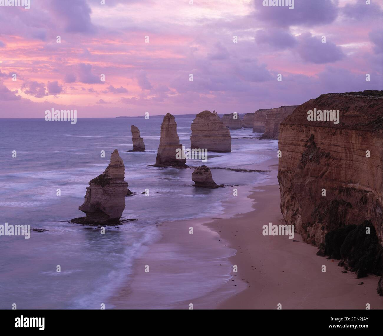 Australia. Victoria. Port Campbell National Park. Great Ocean Road coast. Cliffs and the 12 Apostles rock formations. Stock Photo